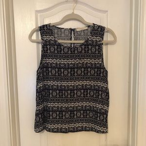Elodie Navy and White Print Top